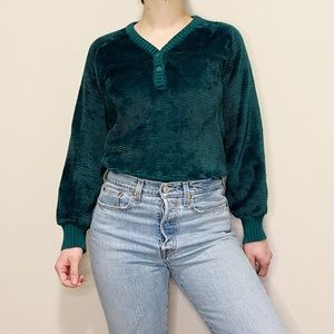 Vintage Sweater Teal Green Chunky Button Front L